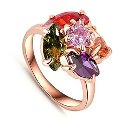 Gnzoe Jewelry Women Engagement Rings Flower Shaped 18K Rose