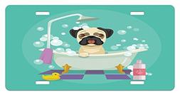 Nursery License Plate by Lunarable, Pug Dog in Bathtub Groom