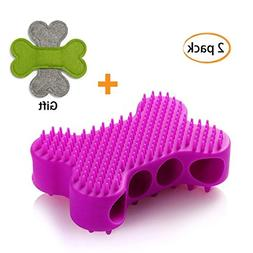 QMXD 2 in 1 Dog and Cats Silicone Grooming Shampoo Shedding