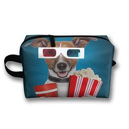 Travel Bags Dog With Popcorn Funny Portable Storage Bag Clut