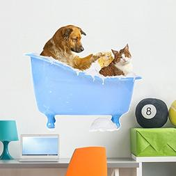 Wallmonkeys Cat Wash Dog and Wall Decal Peel and Stick Graph