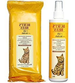 Burt's Bees For Cats Dander Reducing Spray and Wipes Bundle