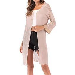 Moserian Women's Loose V-Neckline Cardigan Fashion Solid But