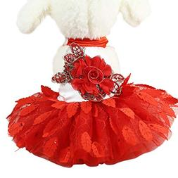 Fitfulvan Clearance!Wedding Dress Pet Small Dogs Lace Cat Sk