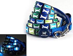 Dog E Glow Blue Bones LED Light Up Dog Leash, 6 feet