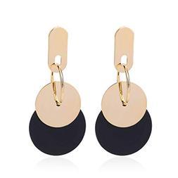 Geometric Metal Double Round Circle Dangle Earrings Women Pa