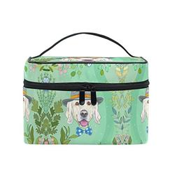 Women Green Puppy Dog Cosmetic Bag Organizer Zipper Makeup B