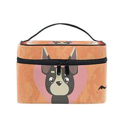 Women Halloween Pink Dog Cosmetic Bag Organizer Zipper Makeu