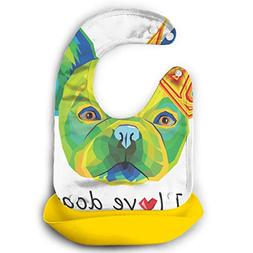 I Love Dogs Waterproof Adjustable Snaps Baby Bibs For Toddle