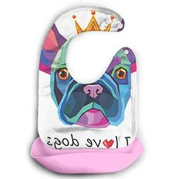I Love Dogs Waterproof Adjustable Snaps Baby Bibs For Baby W