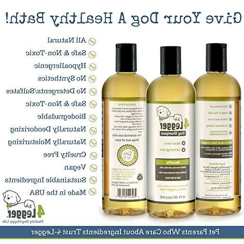 4-Legger Dog Shampoo - and Hypoallergenic and Lemongrass, Normal, Dry, Allergy Skin Biodegradable USA