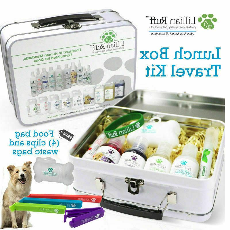 dog shampoo and conditioner travel set lunch