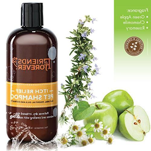 Friends Dog Shampoo Itchy Skin - Oatmeal Vera Shampoo Dog Wash Flaxseed, Tea Tree and Oil