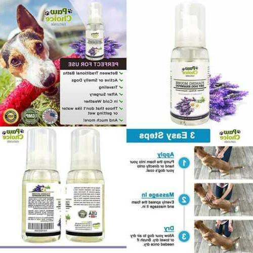 Paw Choice Dry Dog Shampoo, Waterless, Rinse Foam - Best for Pet and Cleaning Coat - & Chamomile Made in