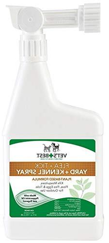Vet's Best Flea and Tick Yard and Kennel Spray, 32 oz, USA M