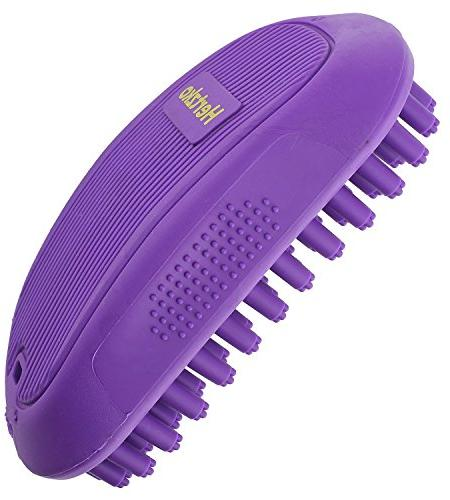 Hertzko Pet Massage Great Grooming Tool for Shampooing with or Hair - Bristles & Shed Your Pet's Coat