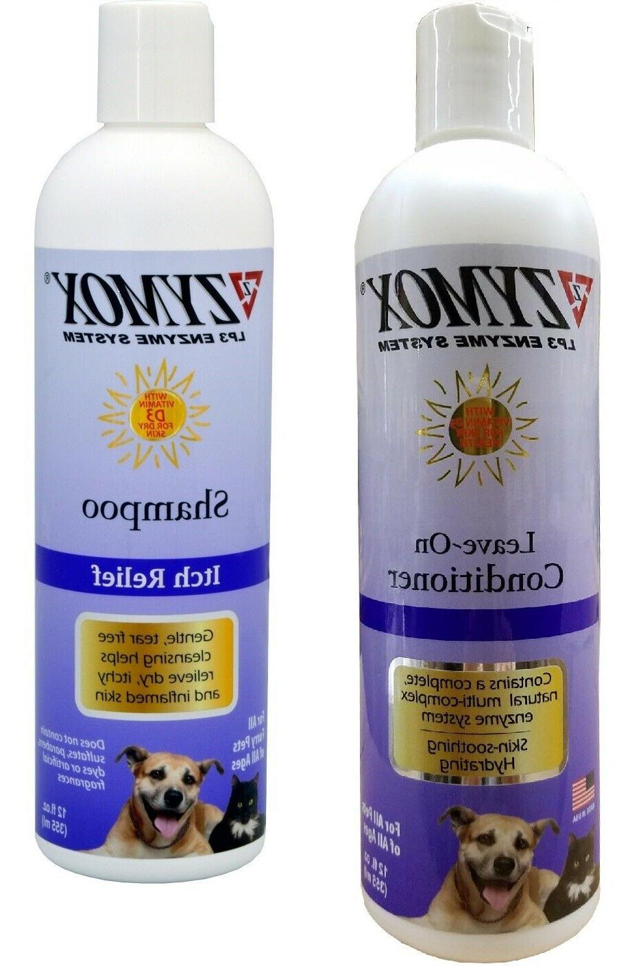Zymox Pet Dog Itch Relief Shampoo and Conditioning Rinse Vit