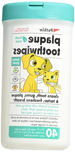 Petkin Toothwipes Dogs/Ca Size 40ct Toothwipes Dogs/Cats 40c