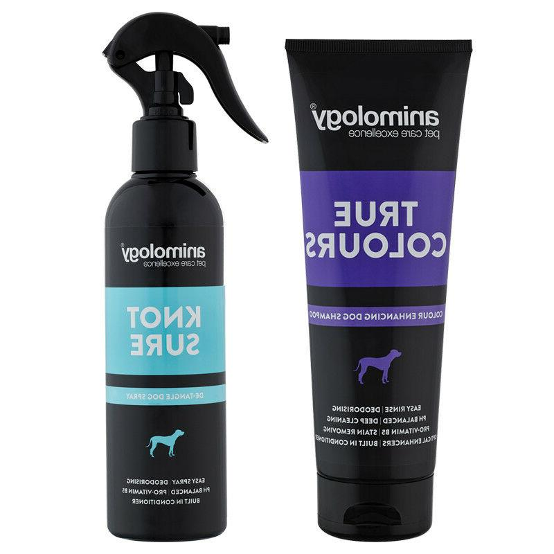 true colours enhancing dog shampoo and knot