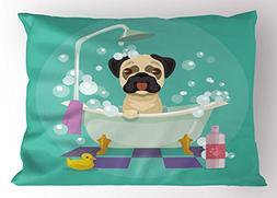 Lunarable Nursery Pillow Sham, Pug Dog in Bathtub Grooming S