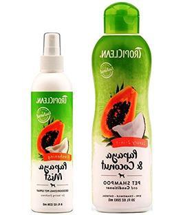 TropiClean Pet Grooming Bundle, 1 Each: Papaya & Coconut Lux