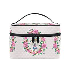 Women Pink Puppy Dog Cosmetic Bag Organizer Zipper Makeup Ba