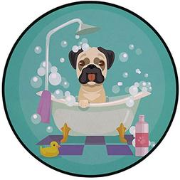 Printing Round Rug,Nursery,Pug Dog in Bathtub Grooming Salon