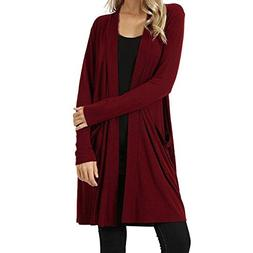 Womens Solid Color Open Front Fly Away Cardigan Sweater Long