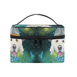 Women Star Puppy Dog Cosmetic Bag Organizer Zipper Makeup Ba