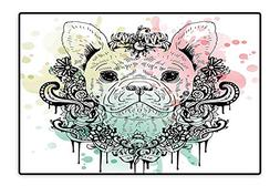 Water-Repellent Rugs French Bulldog with Floral Wreath on Br