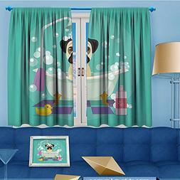 vanfanhome Room Darkening Curtains,Dog in Bathtub Grooming D